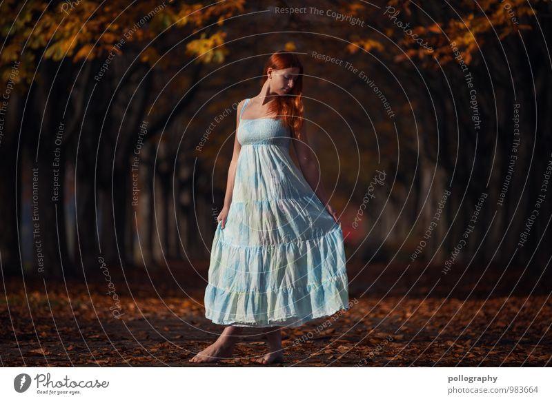 ... Mensch Frau Natur Jugendliche Pflanze Junge Frau Baum Landschaft Blatt Freude 18-30 Jahre Erwachsene Leben Herbst Gefühle feminin