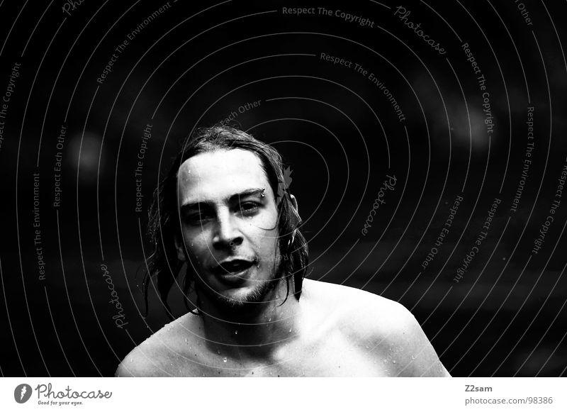 kuddl goes swimming II Mann Sonne Sommer Gesicht Haare & Frisuren Schwimmen & Baden nass maskulin Erfrischung langhaarig Piercing Schwimmsportler Haarsträhne Porträt