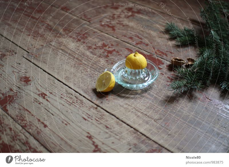 alt aber schön 3 Lebensmittel Zitrone Zitruspresse Walnussschalen Tannenzweig grün gelb weihnachtlich Weihnachten & Advent Kräuter & Gewürze Farbfoto