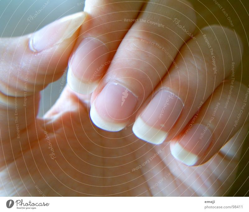 gepflegt Frau Hand schön Gesundheit Haut Finger fangen nehmen Fingernagel Creme Nagel Körperteile Hautfarbe