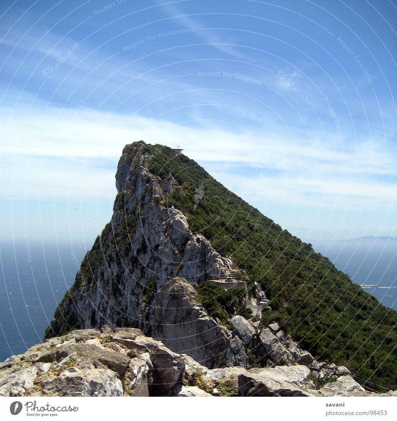 The Rock Himmel Natur blau grün Sommer Meer Landschaft Wolken grau Stein Felsen Horizont Gipfel Gibraltar