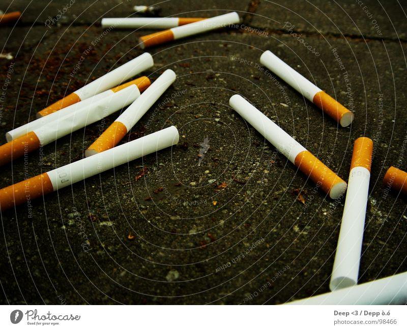 Leere Sucht ? weiß schwarz grau braun Suche leer Bodenbelag Vergänglichkeit Zigarette Rauschmittel Filter Abhängigkeit Tabak nutzlos Hülse