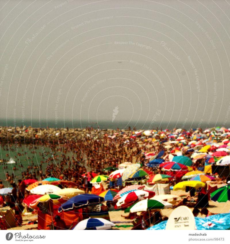 FARBENMEER DES GRAUENS Mensch Himmel Mann Natur blau Ferien & Urlaub & Reisen schön Sommer Meer Strand Farbe ruhig Erholung grau Sand Menschengruppe