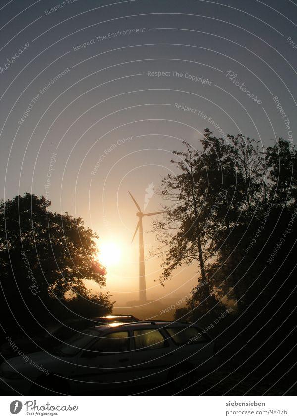 Tagesanbruch Morgen Sonnenaufgang Licht Stimmung Guten Morgen Windkraftanlage Umwelt umweltfreundlich Elektrizität Kraft drehen Industrie Elektrisches Gerät