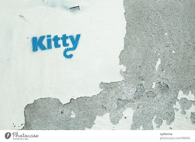 Kitty alt blau Stadt schön Ferien & Urlaub & Reisen Farbe Haus Leben Wand Graffiti Kunst außergewöhnlich Schriftzeichen Häusliches Leben Wandel & Veränderung