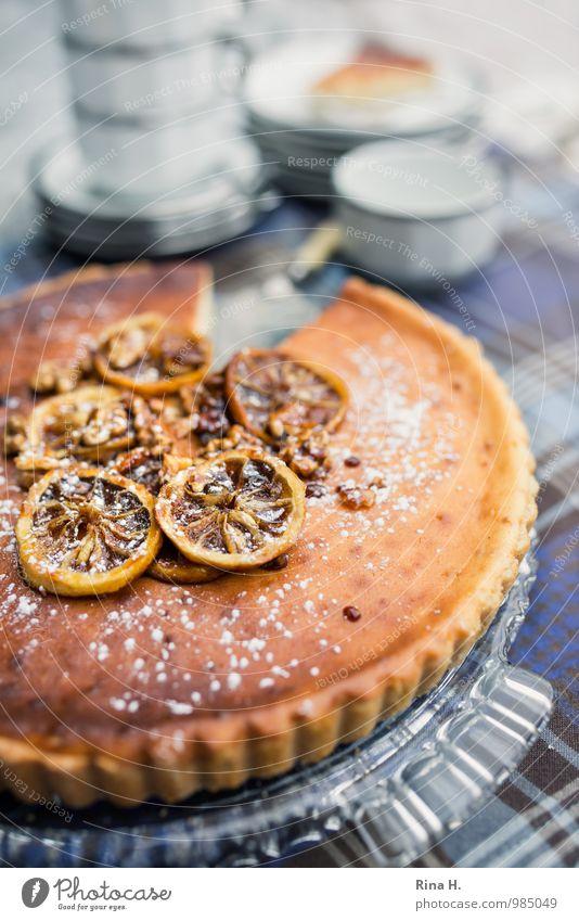 Zitronen-Ricotta-Tarte II genießen süß lecker Geschirr Kuchen Tasse Teller kariert Backwaren Teigwaren Tischwäsche Tortenplatte