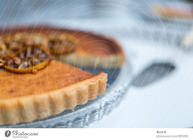 Zitronen-Ricotta-Tarte hell genießen süß lecker Geschirr Kuchen Tablett Tortenplatte Tortenheber