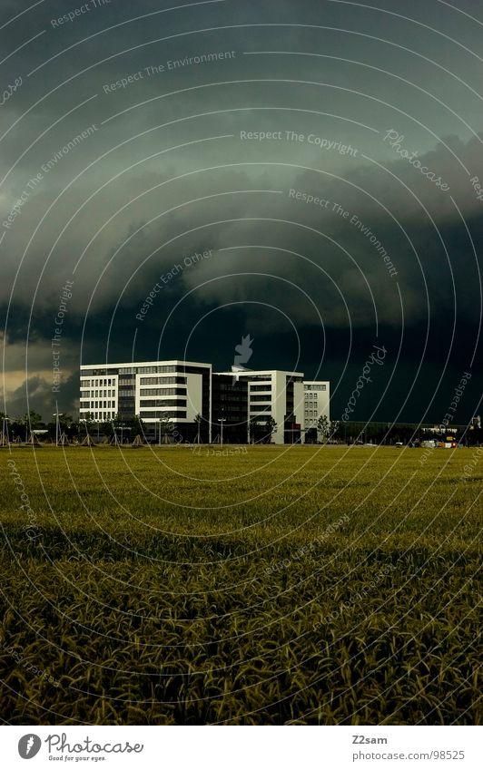 Es wird regen geben Natur weiß grün Haus Wolken Wiese Fenster Gebäude Regen Feld Wetter Hochhaus gefährlich bedrohlich Sturm