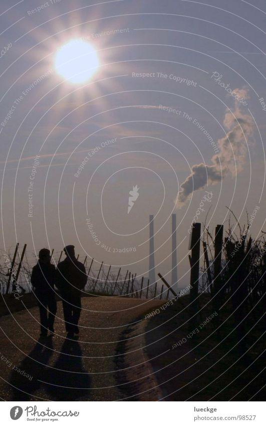 Kraftwerksidylle II Weinberg Gegenlicht Februar Industrie Himmel Stromkraftwerke Spaziergang Paar Schornstein Rauch Wege & Pfade paarweise