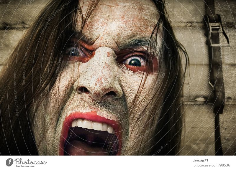 Ich will Discofox! Mann Gesicht Auge Mund Angst Zähne Wut schreien Ärger laut