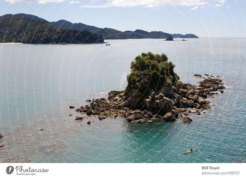 Abel Tasman Insel Wasser Meer Sommer Wellen Insel Neuseeland Kanu Kajak