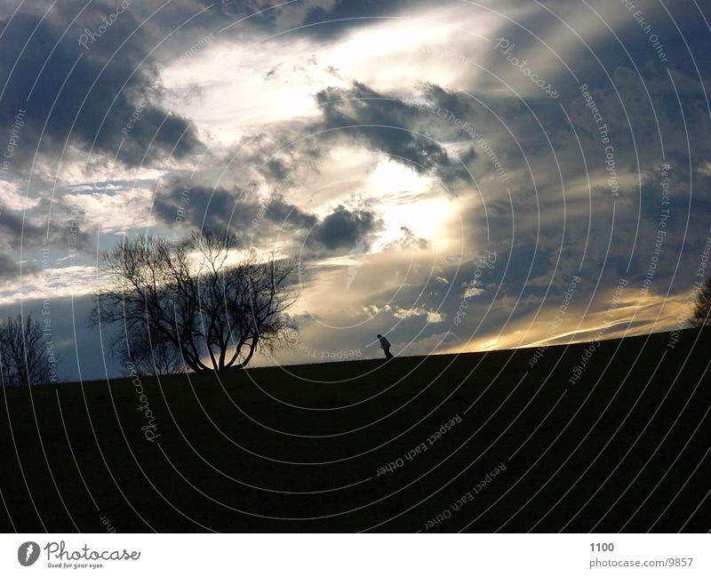 mensch am horizont Wolken Mensch Himmel Abend