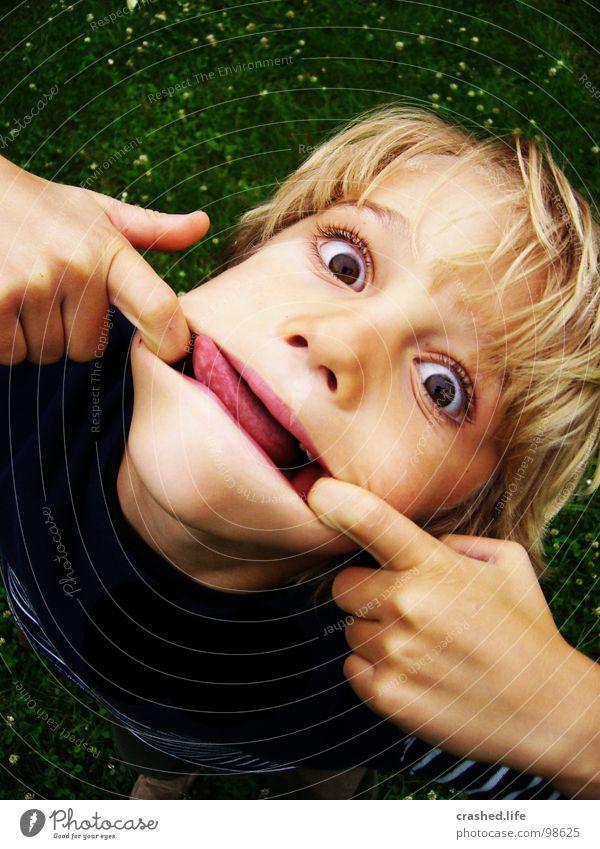 Bäääh Kind Hand grün Gesicht Auge dunkel Haare & Frisuren Garten Gras hell blond Mund böse frech Zunge