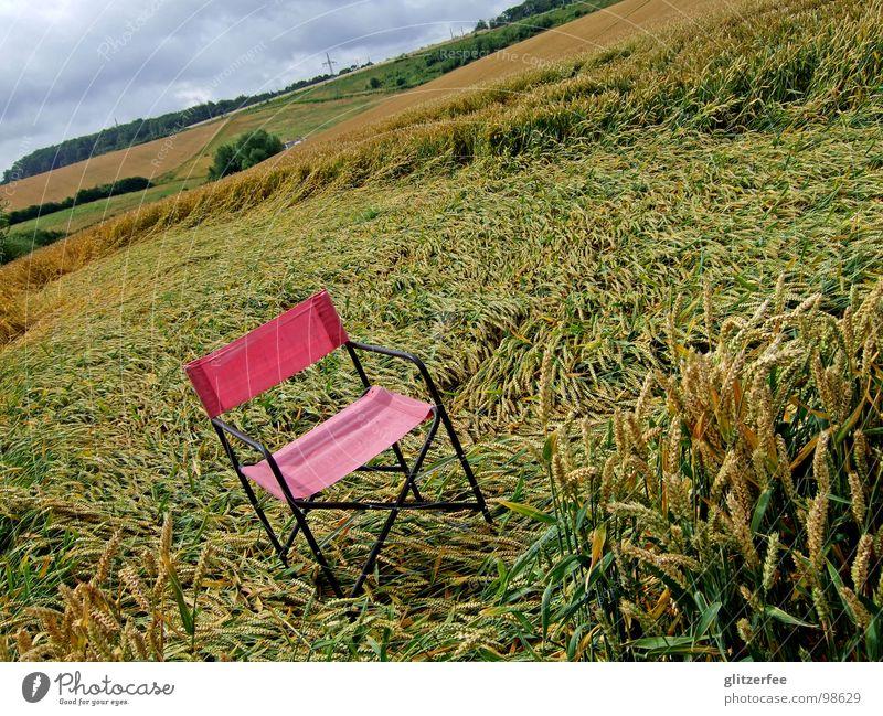 ein stuhl im kornfeld rot Wolken Sommer Sturm UFO ruhig Weizen Roggen Gerste Fee Stuhl Campingstuhl Natur bleich Gewitter Regen außerirdisch