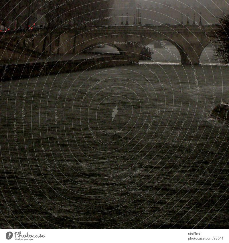 Kaiserwetter Regen Wellen Angst Brücke Fluss bedrohlich Paris Unwetter Bach Apokalypse Seine Hagel Le Pont Neuf