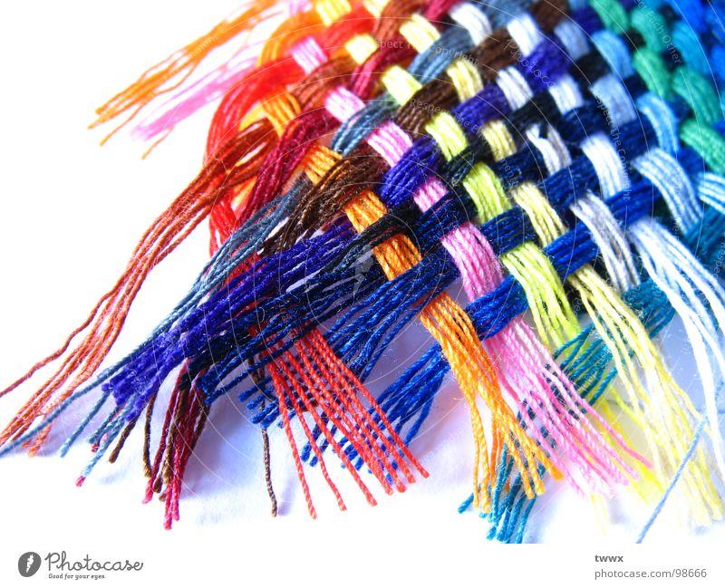 Nähe ! Farbe Kunst Mode Design Seil Bekleidung Netzwerk mehrfarbig Klarheit leuchten deutlich Nähgarn Textilien kreuzen filigran