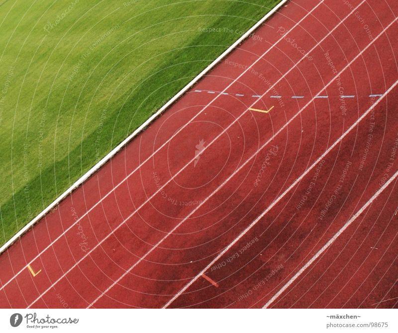 Loooos! Rennbahn Stadion Leichtathletik rot grün weiß Spuren Kurvenlage 100 Meter Lauf Joggen Ausdauer Niederlage Prämie Sport Spielen go laufen run Linie