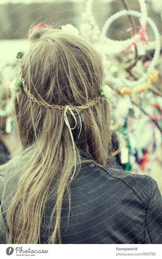 Heut trag ich Flowerpower Junge Frau Jugendliche Haare & Frisuren Haarschmuck Haarband Lederband blond langhaarig Coolness Lebensfreude Design einzigartig
