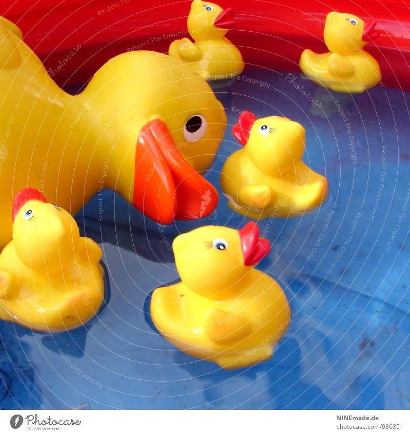 Ente gut, alles gut. blau Wasser weiß rot schwarz gelb Spielen lustig Feste & Feiern Vogel Kindheit Freizeit & Hobby Schwimmen & Baden Dekoration & Verzierung Sauberkeit Schwimmbad