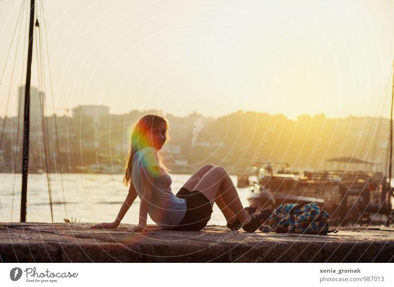Abendlicht Mensch Ferien & Urlaub & Reisen Sommer Sonne Meer Strand Ferne Leben feminin Freiheit Lifestyle Freizeit & Hobby Tourismus Ausflug genießen Abenteuer