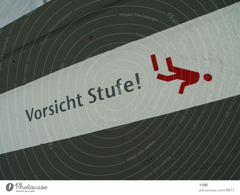 Vorsicht Stufe! Warnhinweis Häusliches Leben Schilder & Markierungen Treppe