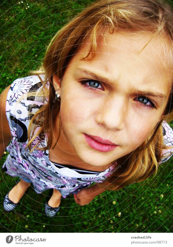 Hööö? Locken blond Mädchen Kleid Gras grün grasgrün Kind Jugendliche Mund Gesicht Face Nose Nase Eyes Auge Haare & Frisuren Ballerina