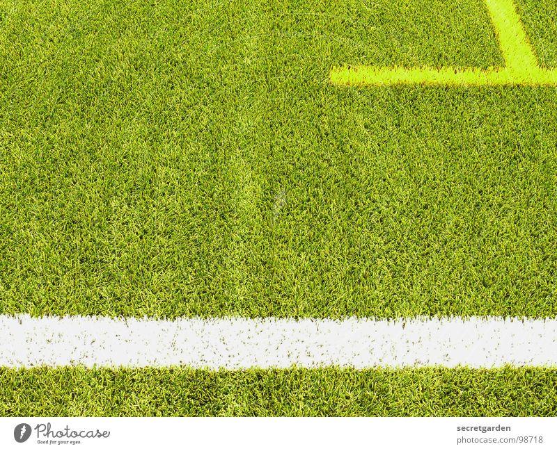 T weiß grün gelb Sport Spielen Linie Fußball hell Schilder & Markierungen Rasen Spielfeld Am Rand Bildausschnitt Sportplatz Kunstrasen Randzone