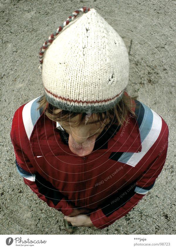 der zungenmann Vogelperspektive Mann rausstrecken ungeheuerlich Mütze Specht Ameisenbären gehorsam Modenschau Freude Zunge undverschämt