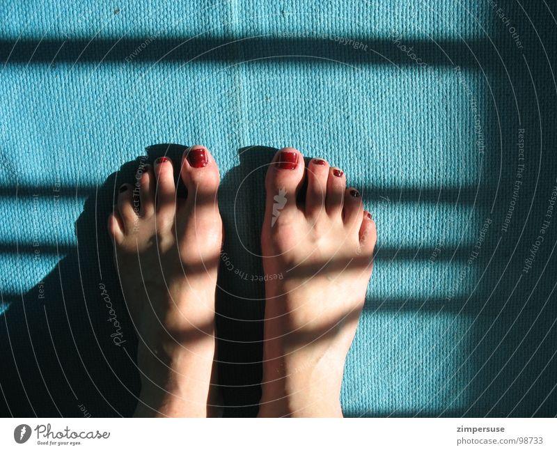 Zebrastreifen Barfuß türkis Beleuchtung Nagellack rot Streifen Zehen Gefäße Müdigkeit Farbe Fuß Geruch schlecht lackiert blau Schatten aufgedunsen Plattfuß