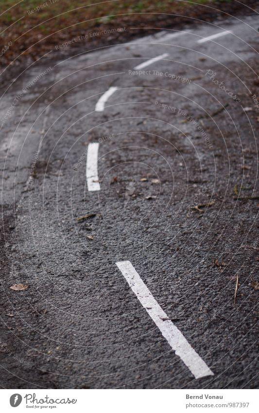 Uffbasse! Verkehr Verkehrswege Fahrradfahren Straße Wege & Pfade Schilder & Markierungen Verkehrszeichen grau weiß dreckig nass herbstlich Herbst Kurve schmal