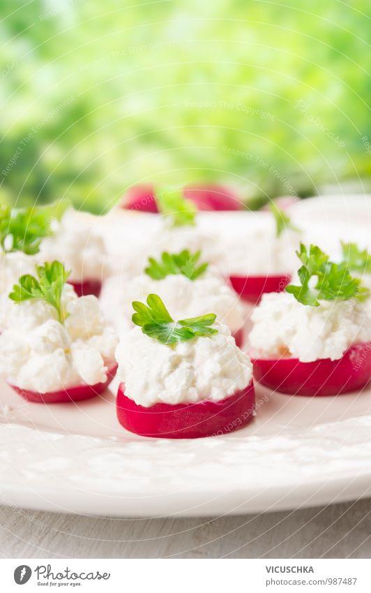 Radieschen Häppchen mit Frischkäse im Garten Lebensmittel Käse Milcherzeugnisse Gemüse Kräuter & Gewürze Ernährung Frühstück Mittagessen Picknick Bioprodukte