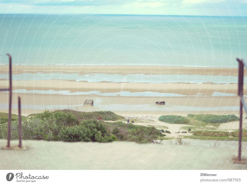 Omaha Beach Umwelt Natur Landschaft Urelemente Sand Wasser Himmel Wolken Horizont Sonne Sommer Klima Schönes Wetter schlechtes Wetter Pflanze Felsen Küste