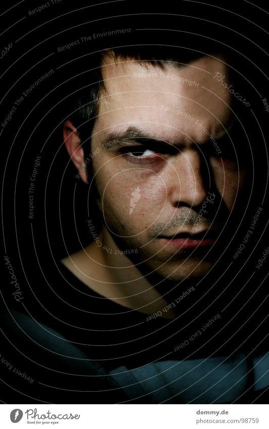 er, nicht sie! Mann Gesicht Auge dunkel Haare & Frisuren Traurigkeit Mund Nase 3 Streifen Trauer Ohr Lippen Falte Wut Bart