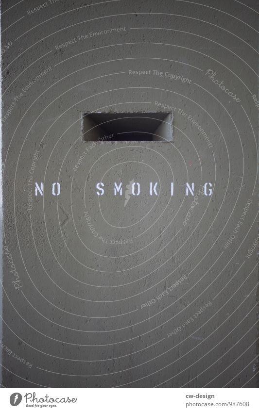 NO Mauer Wand Fassade Beton Zeichen Schriftzeichen Schilder & Markierungen Hinweisschild Warnschild Rauchen dunkel eckig kalt trashig grau Tugend Laster