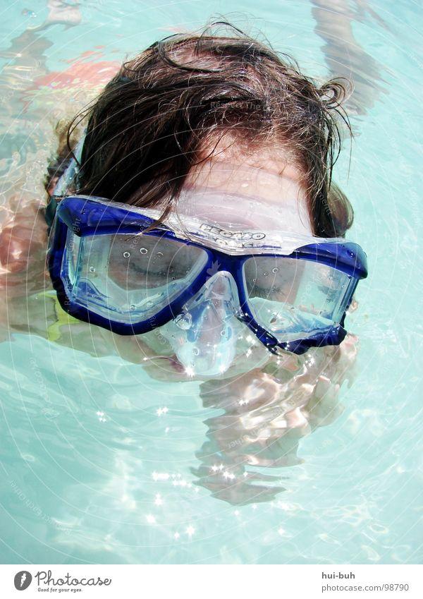 Blinder goggel Kind Wasser Meer blau Freude Haare & Frisuren See Wärme nass Schwimmbad Brille Physik tauchen Klarheit heiß