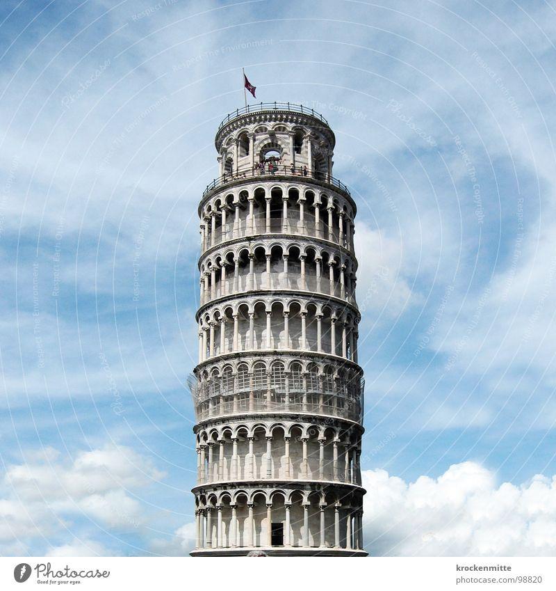 aufrecht dastehen Etage Einsturzgefahr umfallen Glockenstube Toskana Italien Ferien & Urlaub & Reisen Sommer Bauwerk Kunst Tourismus Sturz vertikal