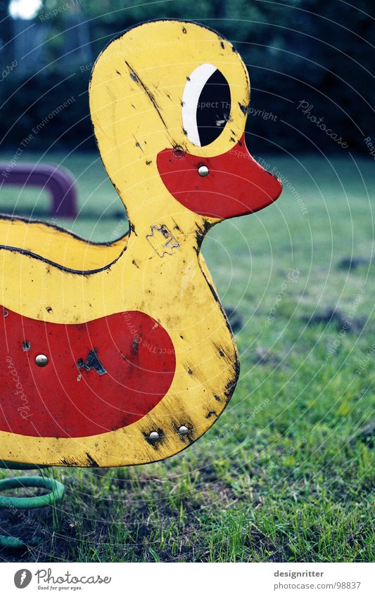 geliebt Spielplatz Schaukel Vogel Wippe gebraucht alt Abnutzung Treue Spielen Holz Wasserschaden rot gelb Vergänglichkeit Schaukeltier Ente Feder Federung