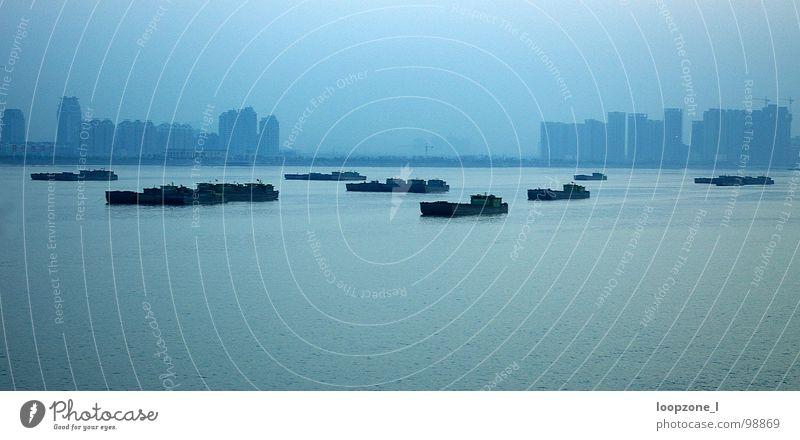 hangzhou river (China) blau dunkel Wasserfahrzeug Hochhaus Brücke Fluss Asien Hangzhou