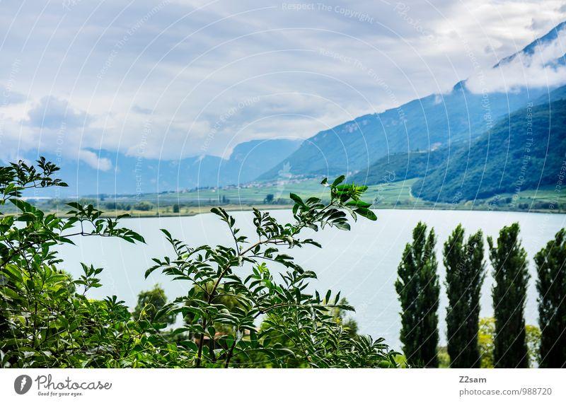 Kalterer See Himmel Natur Ferien & Urlaub & Reisen blau grün Farbe Sommer Baum Erholung Landschaft ruhig Umwelt Berge u. Gebirge natürlich Wetter
