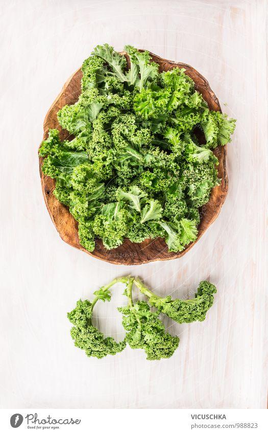 Grünkohl in Holzschale grün Gesunde Ernährung Winter Foodfotografie Stil Garten Feste & Feiern Lebensmittel Design frisch Kochen & Garen & Backen Küche Gemüse