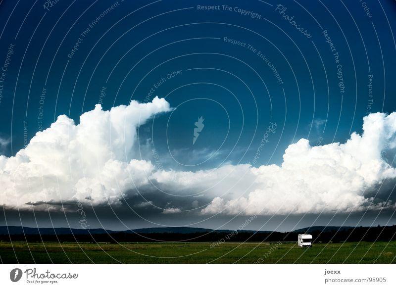 Eingesperrt in der Unendlichkeit Natur Himmel blau Sommer Ferien & Urlaub & Reisen Wolken Einsamkeit Ferne Wiese Freiheit Landschaft gehen Ausflug Abenteuer Camping eng