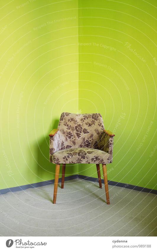 Sitzecke grün Farbe Einsamkeit ruhig Innenarchitektur Stil Wohnung Raum Häusliches Leben Design Beginn Idee einzigartig Pause retro planen