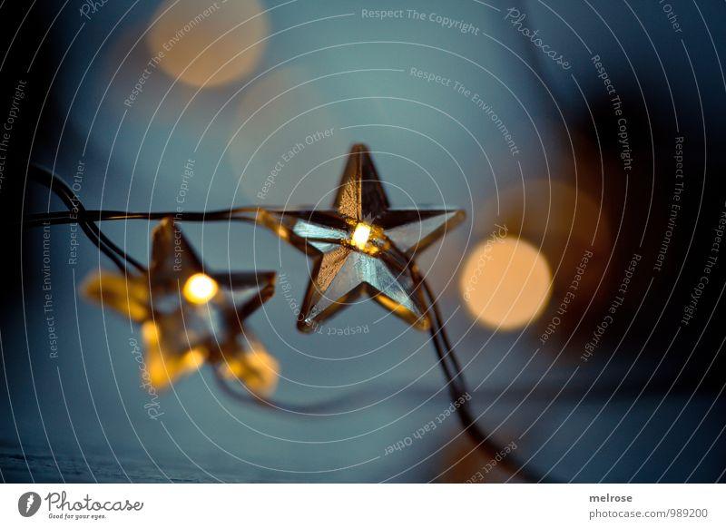glanzvoll Winter Stern (Symbol) Lichterkette Lichterschein glänzend Unschärfe Weihnachtsstern Erholung Feste & Feiern genießen leuchten träumen warten blau gold