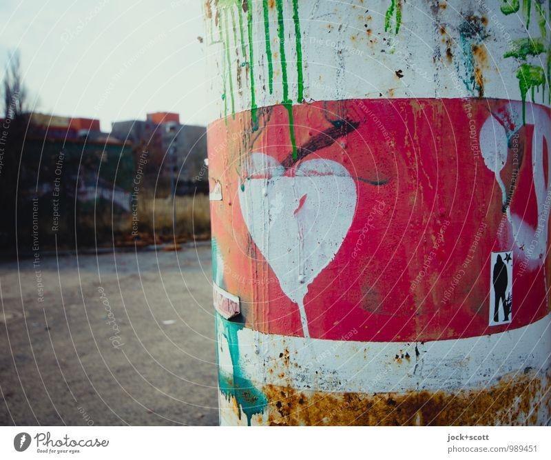 Herzkurve Sommer rot Freude Ferne Liebe Wege & Pfade Metall dreckig Kreativität Herz Lebensfreude Idee einzigartig Romantik Streifen Neugier