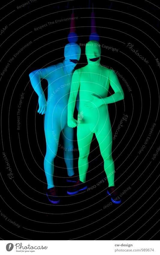 SCHORSCH & Die Zwangsjacken Mensch Jugendliche Mann blau grün Junger Mann 18-30 Jahre Erwachsene lustig Stil außergewöhnlich Kunst Paar Freundschaft maskulin