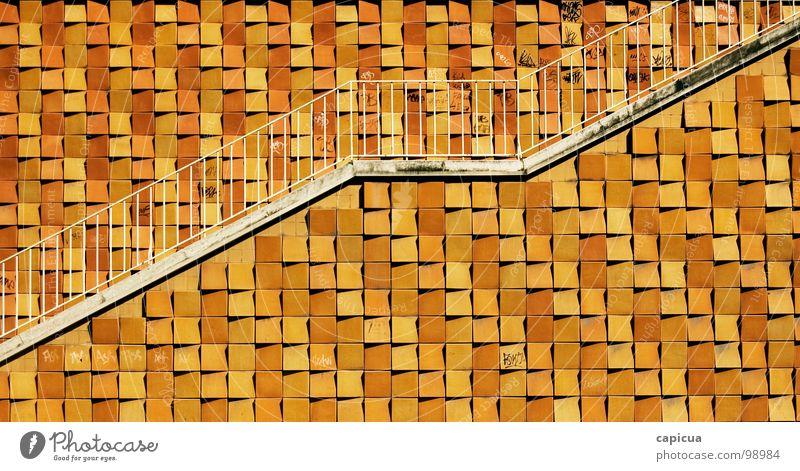 stairway positiv gelb Sommer Stadt Lissabon Plus Detailaufnahme Erfolg geometrical minimalist architechture stairs up path upward ascent graphic growth sunny