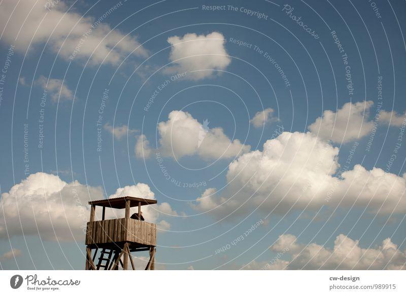 Des Jägers Hochsitz Landschaft Himmel Schönes Wetter Feld Wald Hochhaus Turm Bauwerk Gebäude Architektur Jagd Neugier Abenteuer Horizont Kontrolle Überwachung