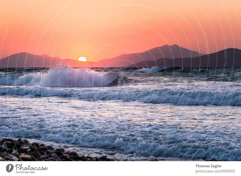 Sonnenuntergang auf Kos Ferien & Urlaub & Reisen blau Wasser Sommer Erholung Meer Landschaft Strand Küste Freiheit Schwimmen & Baden orange Wellen Wind Insel