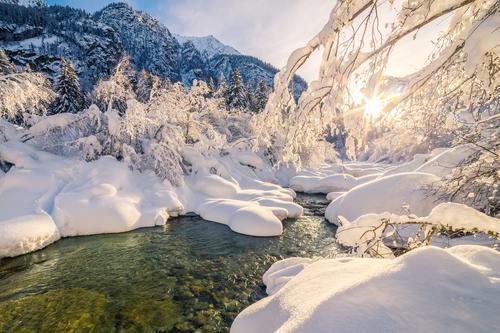 Winter in den italienischen Alpen II Natur Ferien & Urlaub & Reisen blau grün Wasser Baum Landschaft Freude kalt gelb Berge u. Gebirge Schnee glänzend