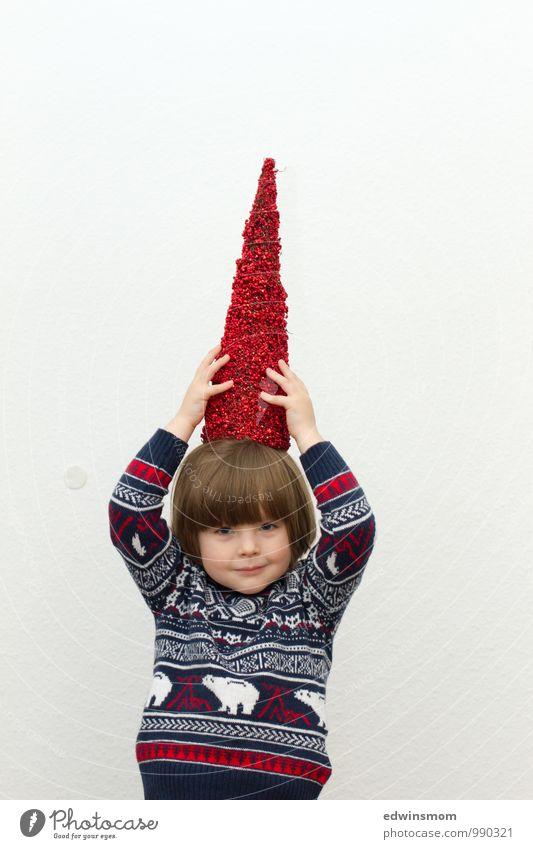 Es weihnachtet sehr Mensch Kind blau Weihnachten & Advent weiß rot Freude Winter Gesicht Junge lustig Spielen grau maskulin Dekoration & Verzierung blond